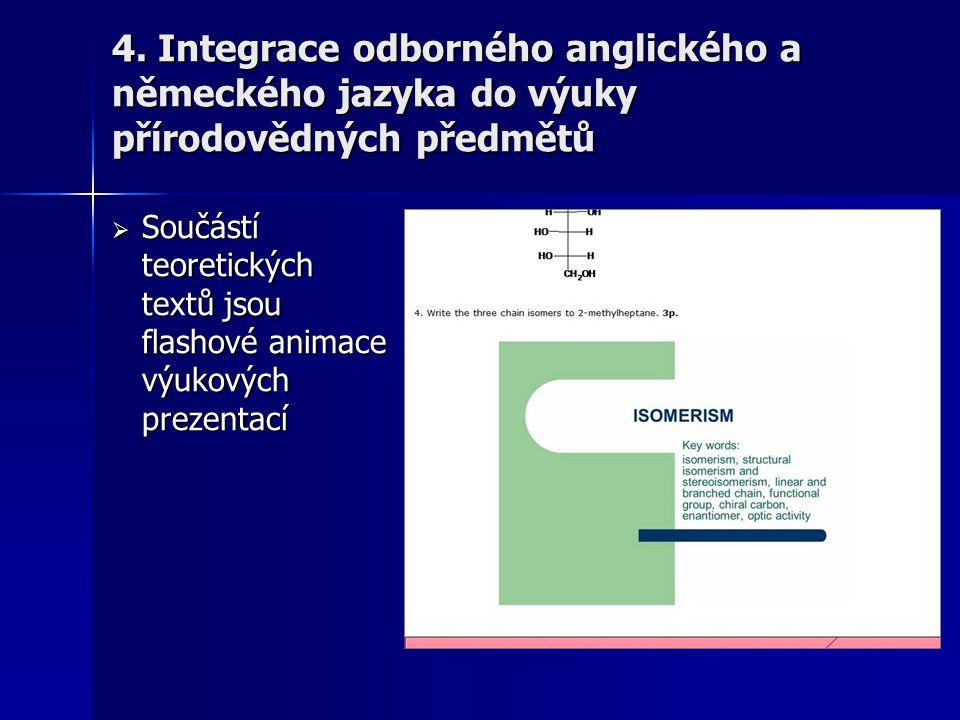  Součástí teoretických textů jsou flashové animace výukových prezentací 4. Integrace odborného anglického a německého jazyka do výuky přírodovědných