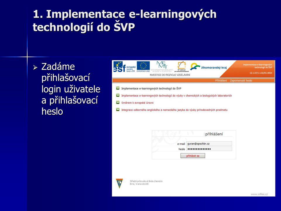  Zadáme přihlašovací login uživatele a přihlašovací heslo 1. Implementace e-learningových technologií do ŠVP