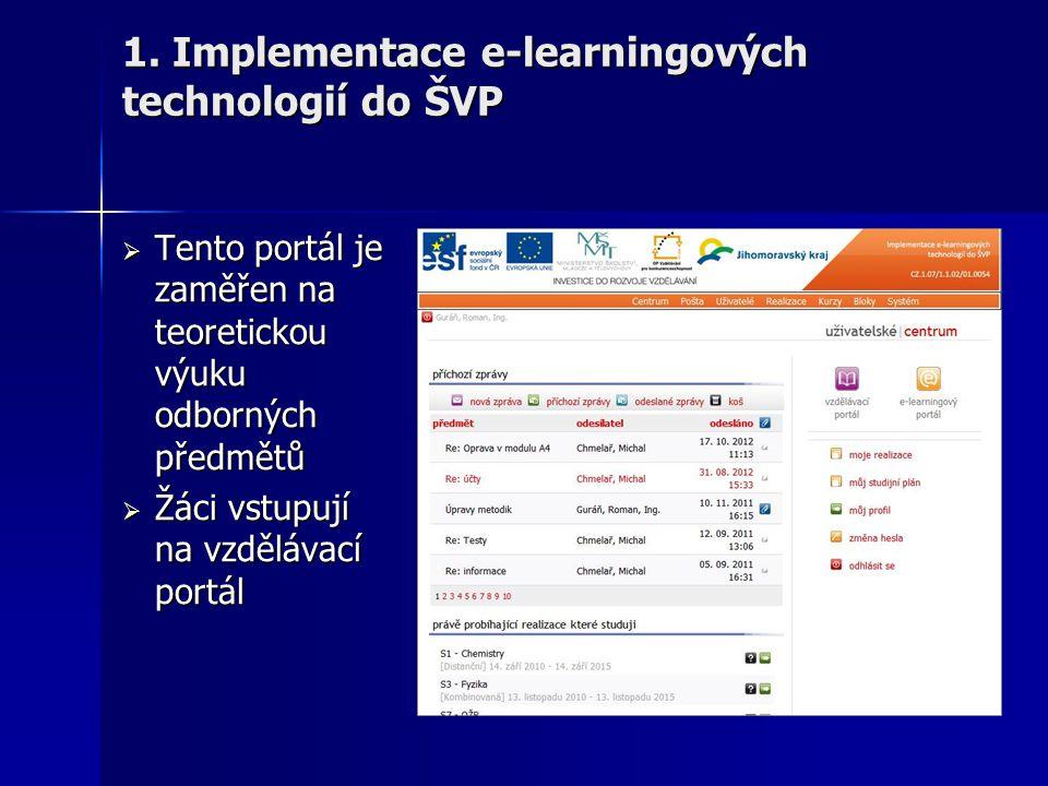  Tento portál je zaměřen na teoretickou výuku odborných předmětů  Žáci vstupují na vzdělávací portál 1. Implementace e-learningových technologií do