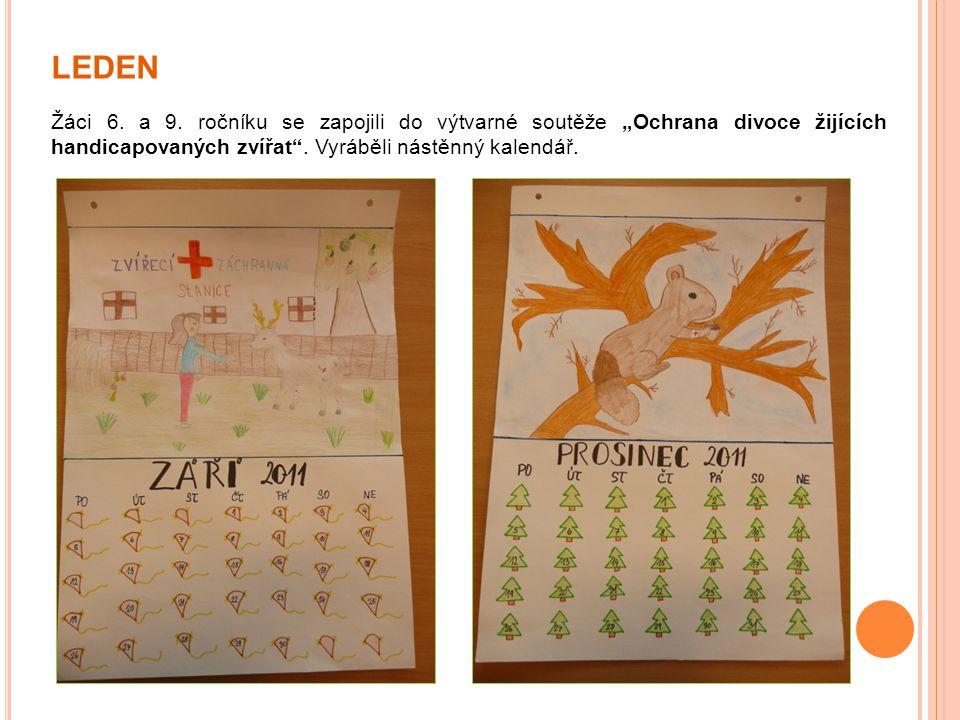 """LEDEN Žáci 6. a 9. ročníku se zapojili do výtvarné soutěže """"Ochrana divoce žijících handicapovaných zvířat"""". Vyráběli nástěnný kalendář."""