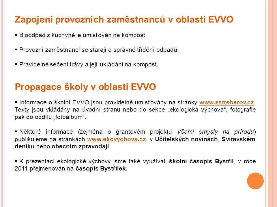 Zapojení provozních zaměstnanců v oblasti EVVO  Bioodpad z kuchyně je umisťován na kompost.  Provozní zaměstnanci se starají o správné třídění odpad