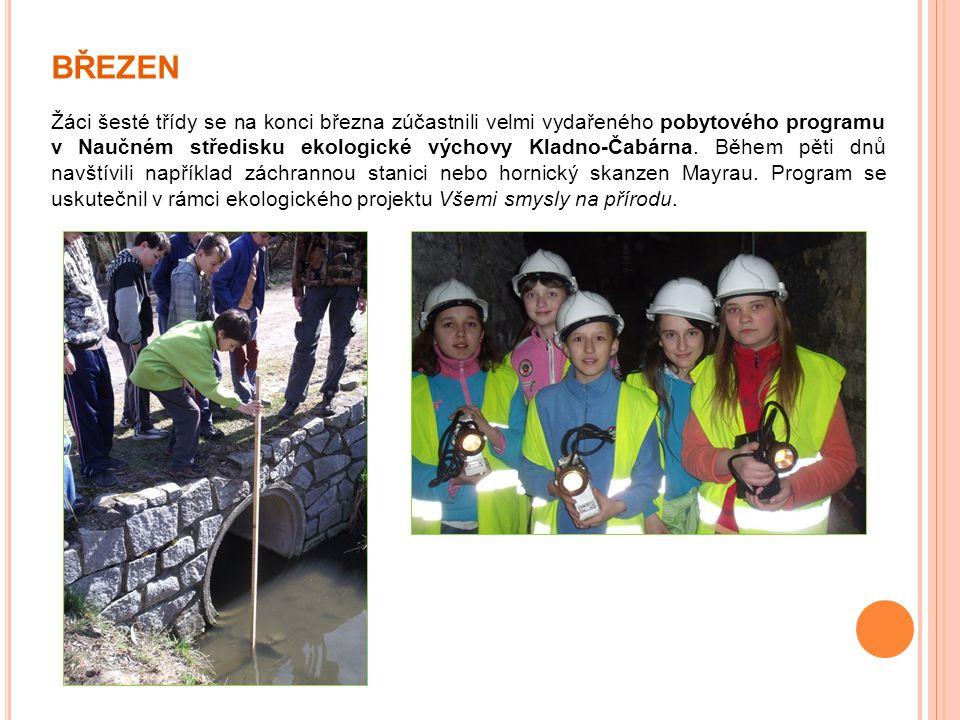 BŘEZEN Žáci šesté třídy se na konci března zúčastnili velmi vydařeného pobytového programu v Naučném středisku ekologické výchovy Kladno-Čabárna. Běhe