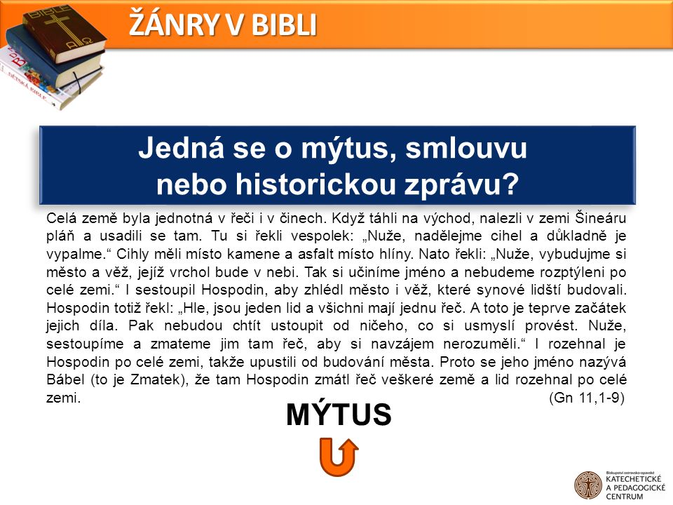 Jedná se o mýtus, smlouvu nebo historickou zprávu? Jedná se o mýtus, smlouvu nebo historickou zprávu? ŽÁNRY V BIBLI MÝTUS Celá země byla jednotná v ře