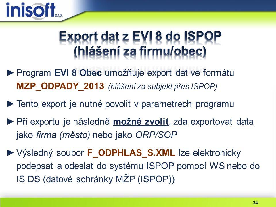 34 ►Program EVI 8 Obec umožňuje export dat ve formátu MZP_ODPADY_2013 (hlášení za subjekt přes ISPOP) ►Tento export je nutné povolit v parametrech pro