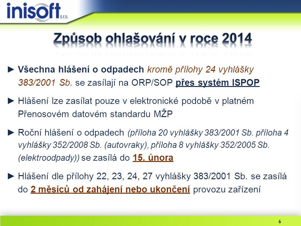 6 ►Všechna hlášení o odpadech kromě přílohy 24 vyhlášky 383/2001 Sb. se zasílají na ORP/SOP přes systém ISPOP ►Hlášení lze zasílat pouze v elektronick