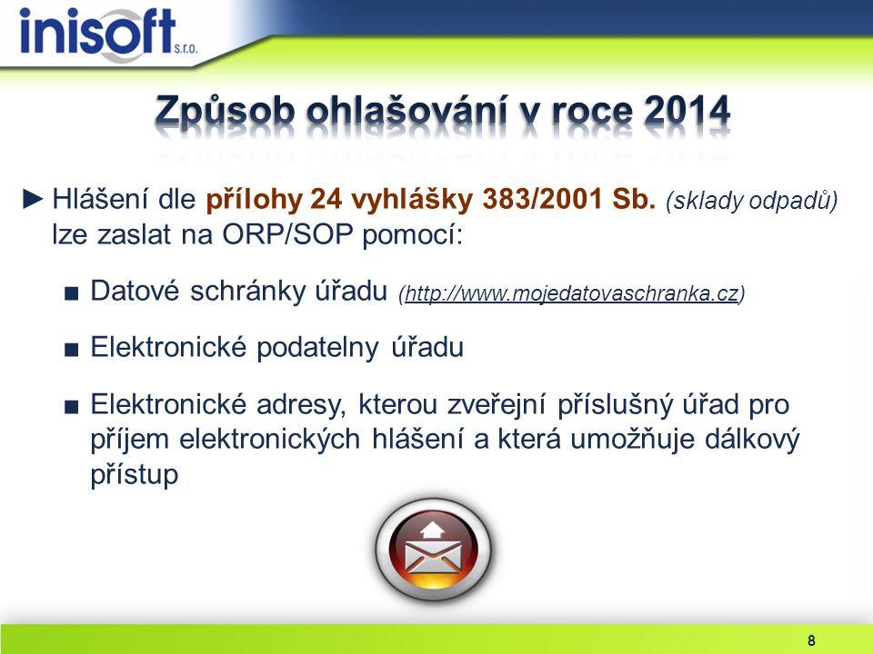 8 ►Hlášení dle přílohy 24 vyhlášky 383/2001 Sb. (sklady odpadů) lze zaslat na ORP/SOP pomocí: ■Datové schránky úřadu (http://www.mojedatovaschranka.cz