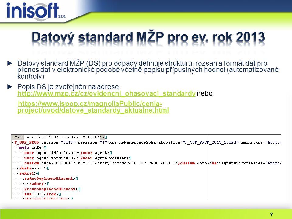 """20 ►Parametry programu – na záložce ORP/SOP/KÚ v sekci """"Hlášení o odpadech v ISPOP je nutné zadat uživatelské jméno a heslo, adresu WS pro správu hlášení načtete pomocí tlačítka Výchozí ►Import z ISPOP – v nabídce Import & Export zvolte příkaz Import z ISPOP pro načtení všech hlášení určených pro ověření (zpracování v programu EVI 8) ►Import dat – po výběru hlášení lze pokračovat v importu dat, postup importu je stejný jako při zpracování dat za rok 2012"""