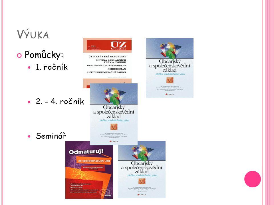 V ÝUKA Učební plán: TřídaUčivo 1.pololetíUčivo 2.pololetí 1.ročníkPolitologiePrávo 2.ročníkPsychologieSociologie 3.ročníkEkonomie a ekonomika Mezinárodní vztahy 4.ročníkFilozofie