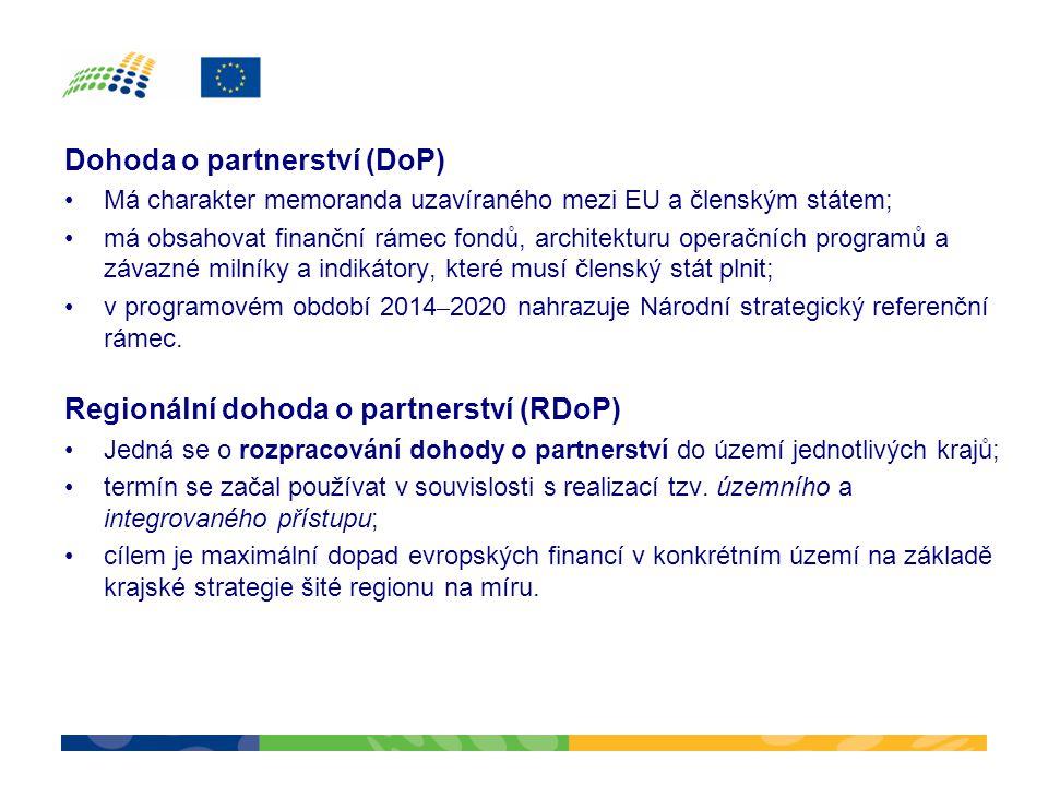 Dohoda o partnerství (DoP) •Má charakter memoranda uzavíraného mezi EU a členským státem; •má obsahovat finanční rámec fondů, architekturu operačních