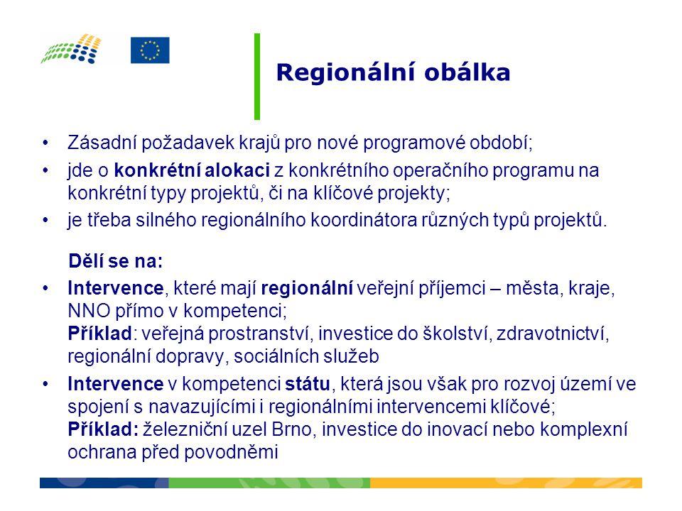 Regionální obálka •Zásadní požadavek krajů pro nové programové období; •jde o konkrétní alokaci z konkrétního operačního programu na konkrétní typy pr