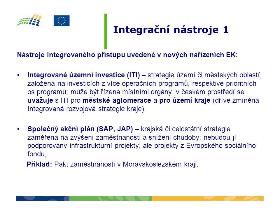 Integrační nástroje 1 Nástroje integrovaného přístupu uvedené v nových nařízeních EK: •Integrované územní investice (ITI) – strategie území či městský