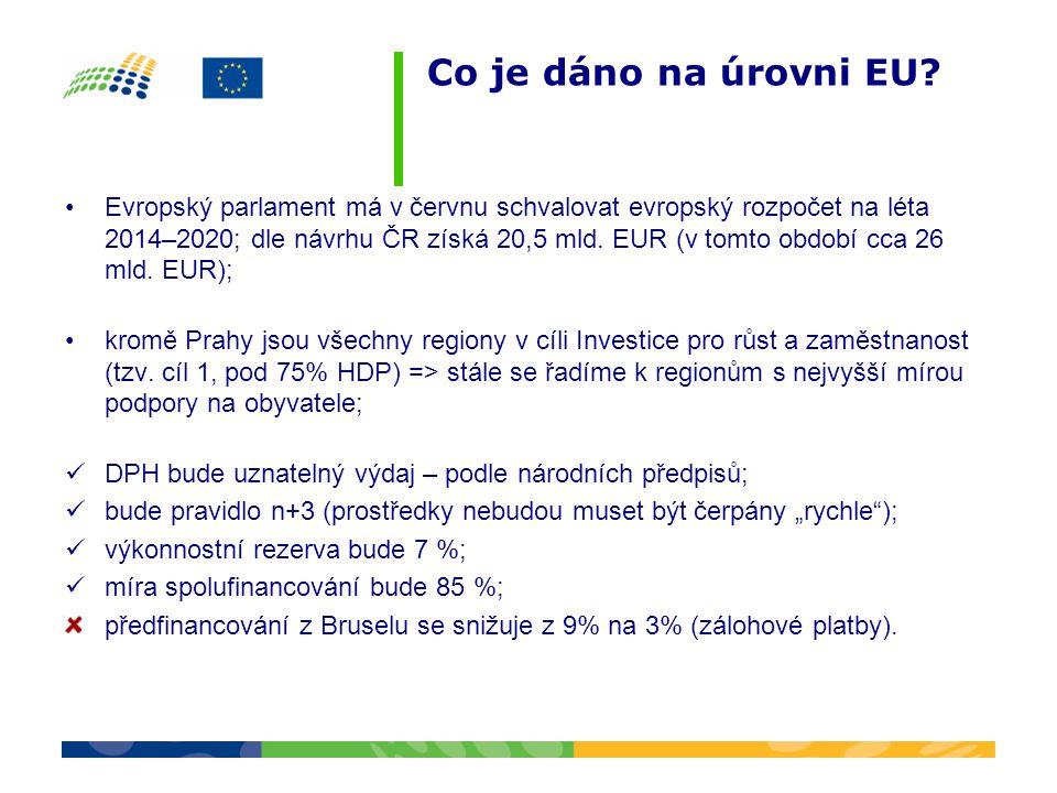 Co je dáno na úrovni EU? •Evropský parlament má v červnu schvalovat evropský rozpočet na léta 2014–2020; dle návrhu ČR získá 20,5 mld. EUR (v tomto ob