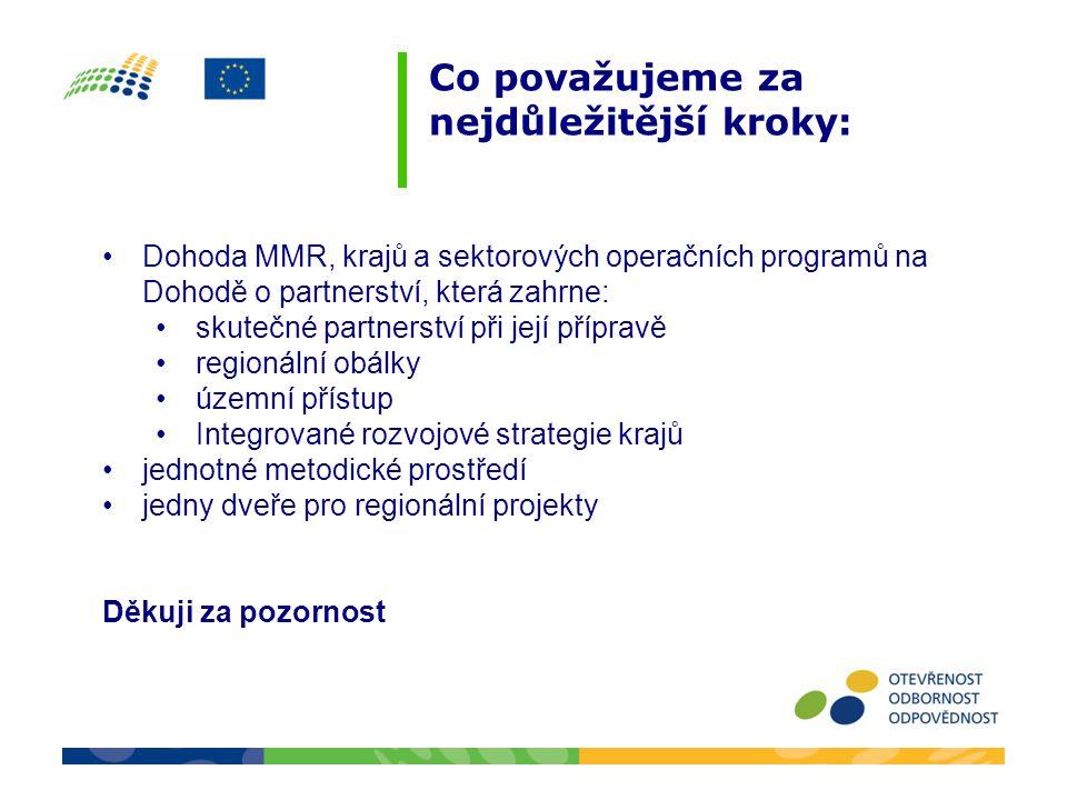 Co považujeme za nejdůležitější kroky: •Dohoda MMR, krajů a sektorových operačních programů na Dohodě o partnerství, která zahrne: •skutečné partnerst