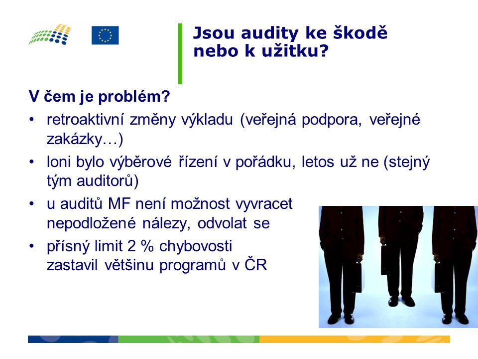 Jsou audity ke škodě nebo k užitku? V čem je problém? •retroaktivní změny výkladu (veřejná podpora, veřejné zakázky…) •loni bylo výběrové řízení v poř
