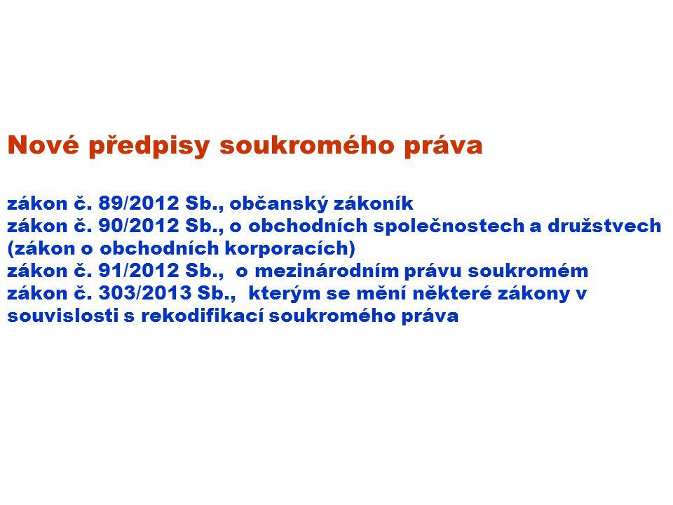 Nové předpisy soukromého práva zákon č.89/2012 Sb., občanský zákoník zákon č.