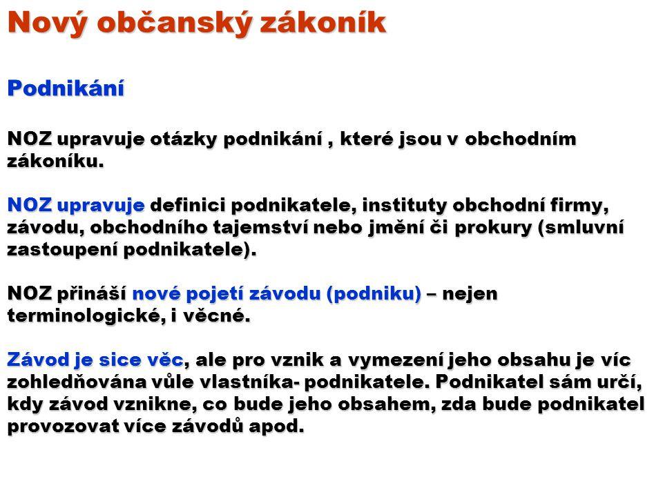 Nový občanský zákoník Podnikání NOZ upravuje otázky podnikání, které jsou v obchodním zákoníku.