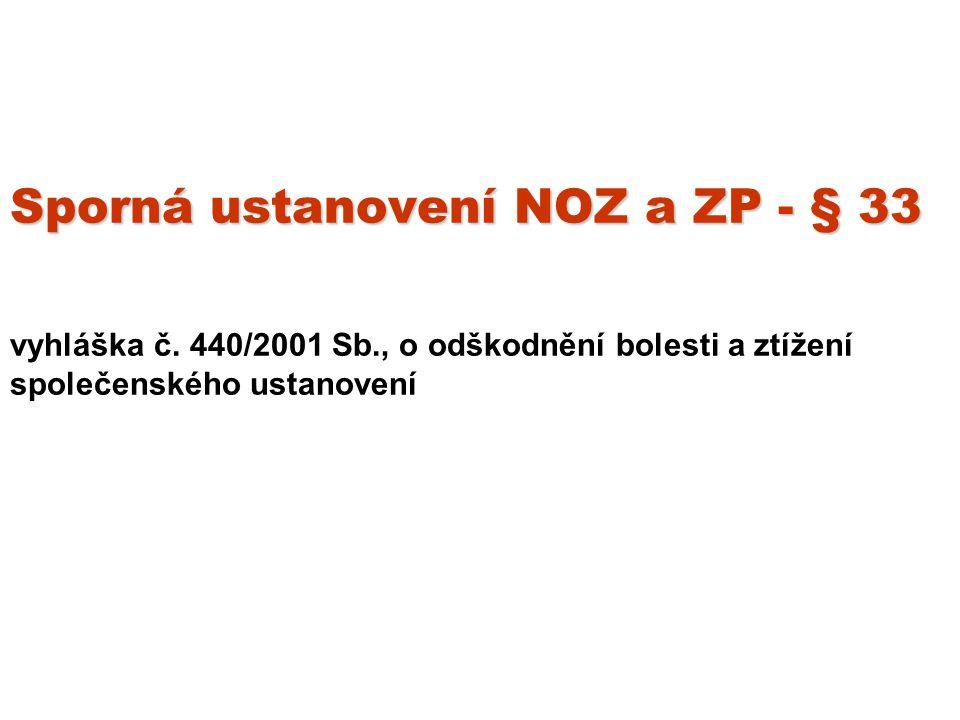 Sporná ustanovení NOZ a ZP - § 33 Sporná ustanovení NOZ a ZP - § 33 vyhláška č.