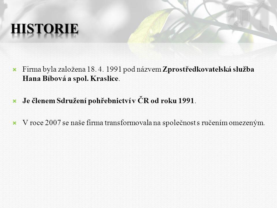  Firma byla založena 18.4. 1991 pod názvem Zprostředkovatelská služba Hana Bíbová a spol.