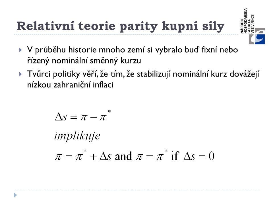 Relativní teorie parity kupní síly  V průběhu historie mnoho zemí si vybralo buď fixní nebo řízený nominální směnný kurzu  Tvůrci politiky věří, že