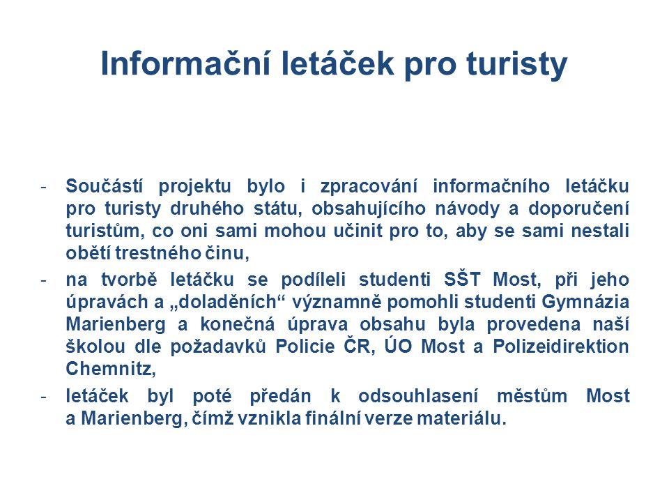 Informační letáček pro turisty -Součástí projektu bylo i zpracování informačního letáčku pro turisty druhého státu, obsahujícího návody a doporučení t