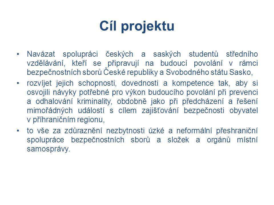Cíl projektu •Navázat spolupráci českých a saských studentů středního vzdělávání, kteří se připravují na budoucí povolání v rámci bezpečnostních sborů