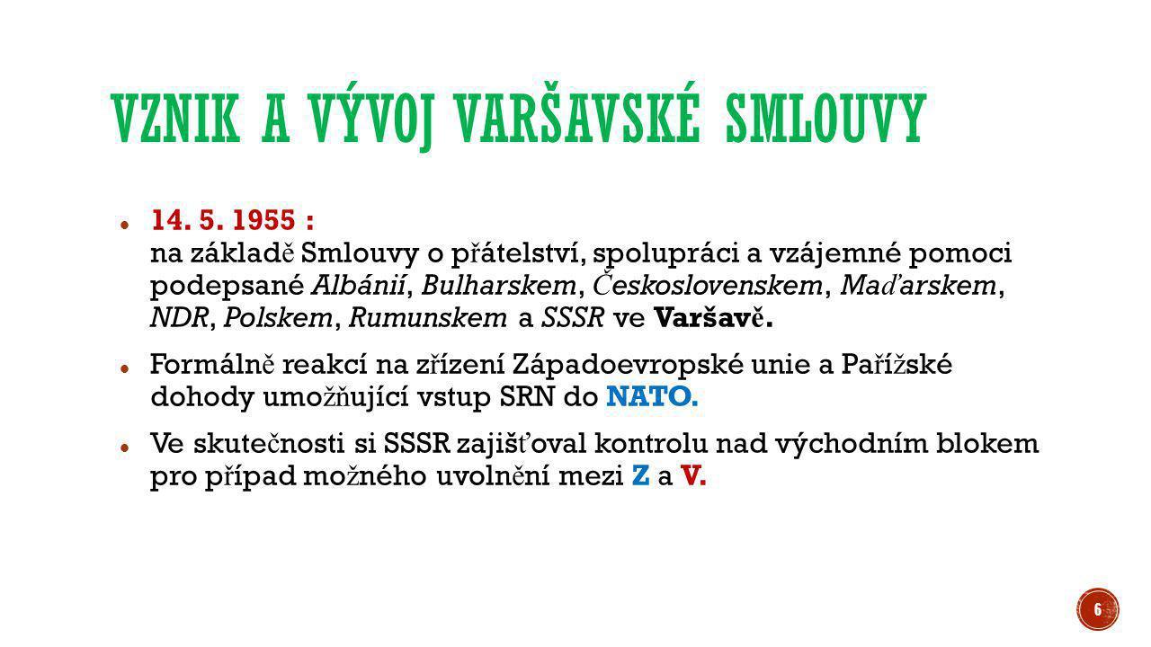  14. 5. 1955 : na základ ě Smlouvy o p ř átelství, spolupráci a vzájemné pomoci podepsané Albánií, Bulharskem, Č eskoslovenskem, Ma ď arskem, NDR, Po