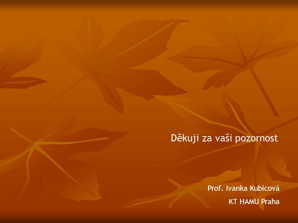 Děkuji za vaši pozornost Prof. Ivanka Kubicová KT HAMU Praha