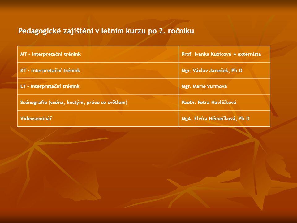 MT - interpretační tréninkProf. Ivanka Kubicová + externista KT - interpretační tréninkMgr. Václav Janeček, Ph.D LT - interpretační tréninkMgr. Marie