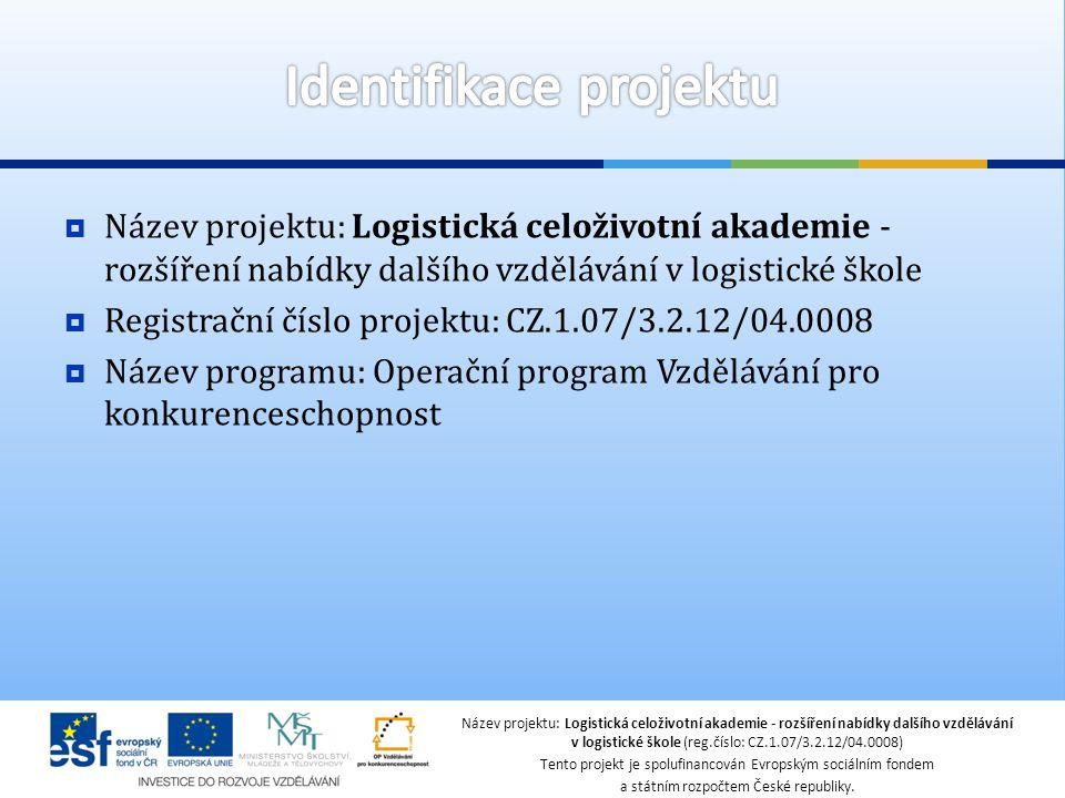  Název projektu: Logistická celoživotní akademie - rozšíření nabídky dalšího vzdělávání v logistické škole  Registrační číslo projektu: CZ.1.07/3.2.12/04.0008  Název programu: Operační program Vzdělávání pro konkurenceschopnost Název projektu: Logistická celoživotní akademie - rozšíření nabídky dalšího vzdělávání v logistické škole (reg.číslo: CZ.1.07/3.2.12/04.0008) Tento projekt je spolufinancován Evropským sociálním fondem a státním rozpočtem České republiky.