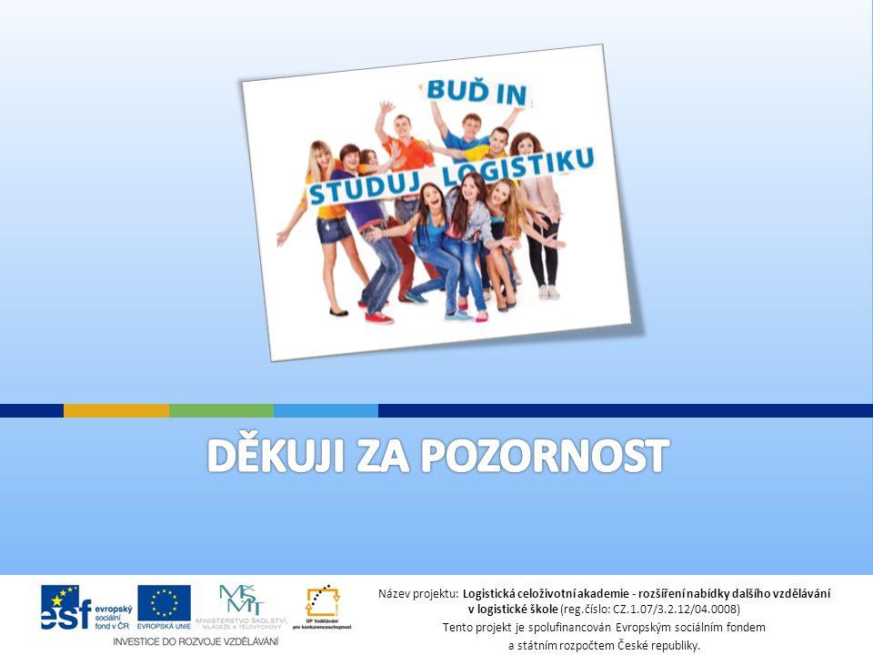 Název projektu: Logistická celoživotní akademie - rozšíření nabídky dalšího vzdělávání v logistické škole (reg.číslo: CZ.1.07/3.2.12/04.0008) Tento projekt je spolufinancován Evropským sociálním fondem a státním rozpočtem České republiky.