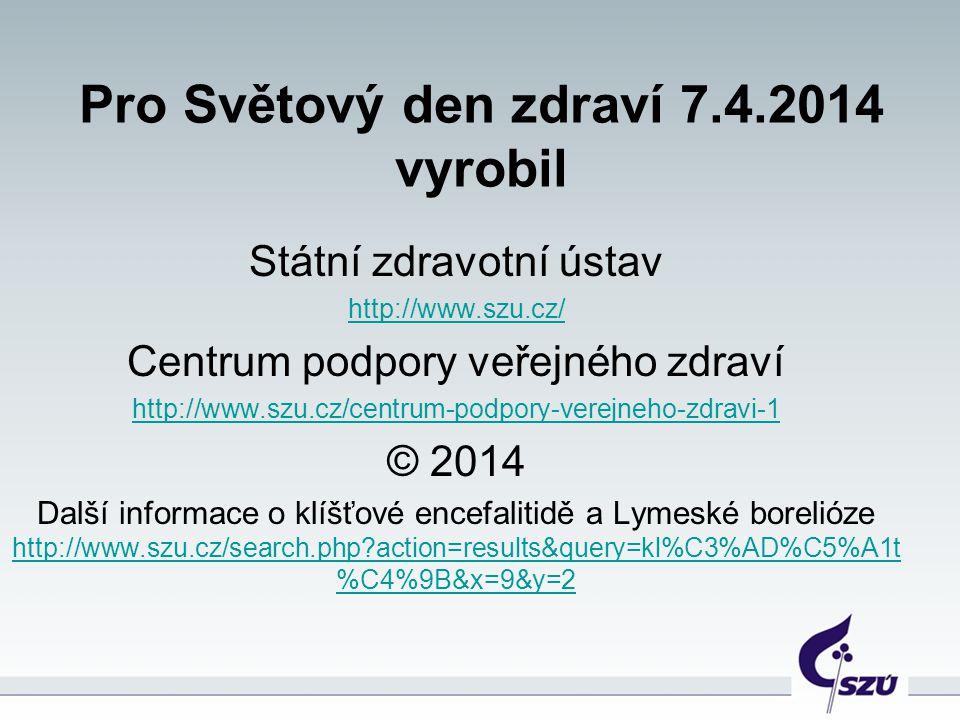 Pro Světový den zdraví 7.4.2014 vyrobil Státní zdravotní ústav http://www.szu.cz/ Centrum podpory veřejného zdraví http://www.szu.cz/centrum-podpory-v