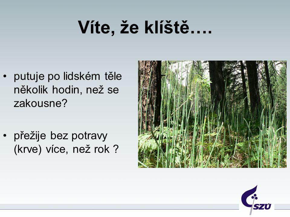 Jak se nazývají nemoci, které v ČR přenáší klíšťata.