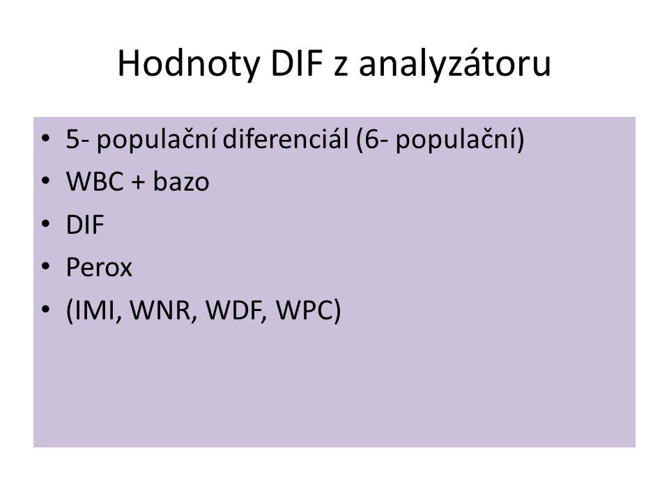 • 5- populační diferenciál (6- populační) • WBC + bazo • DIF • Perox • (IMI, WNR, WDF, WPC) Hodnoty DIF z analyzátoru