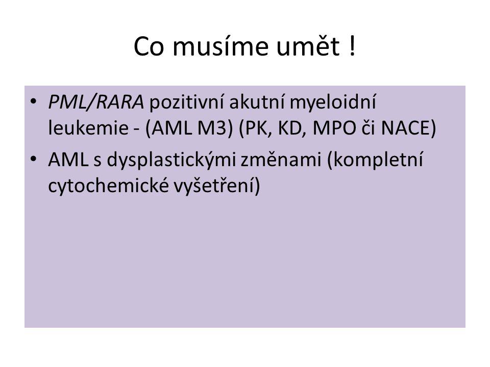 Co musíme umět ! • PML/RARA pozitivní akutní myeloidní leukemie - (AML M3) (PK, KD, MPO či NACE) • AML s dysplastickými změnami (kompletní cytochemick