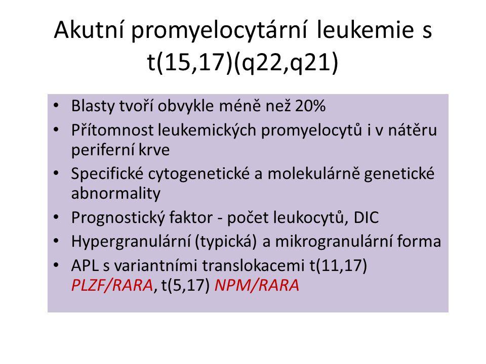 Akutní promyelocytární leukemie s t(15,17)(q22,q21) • Blasty tvoří obvykle méně než 20% • Přítomnost leukemických promyelocytů i v nátěru periferní kr