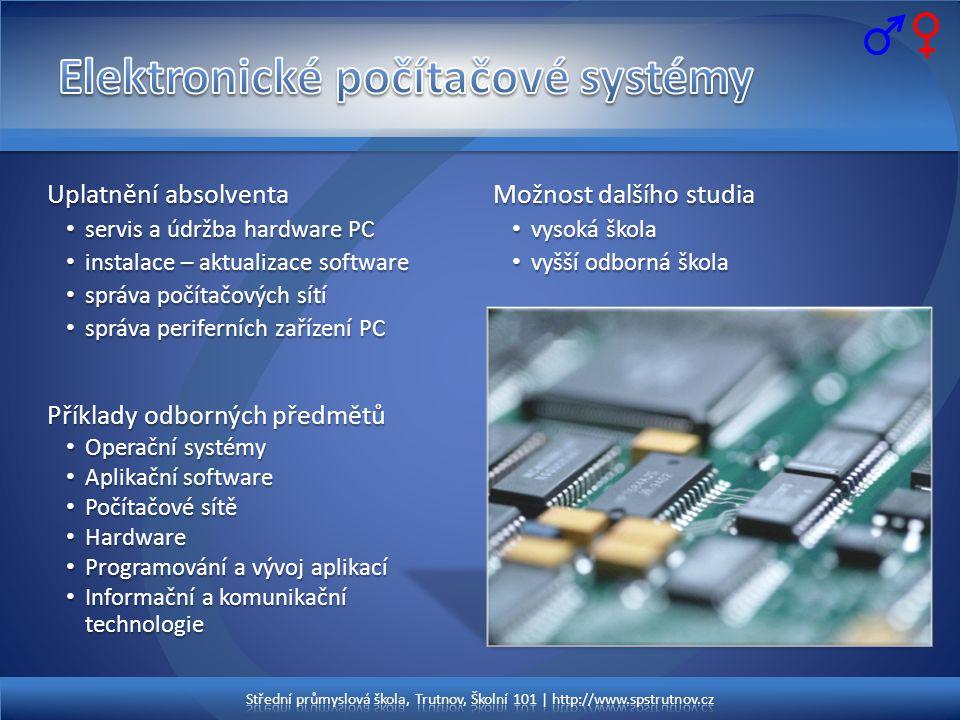 Střední průmyslová škola, Trutnov, Školní 101 | http://www.spstrutnov.cz Uplatnění absolventa • servis a údržba hardware PC • instalace – aktualizace