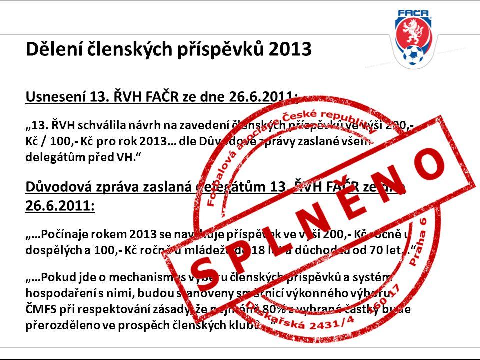 """Dělení členských příspěvků 2013 Usnesení 13.ŘVH FAČR ze dne 26.6.2011: """"13."""