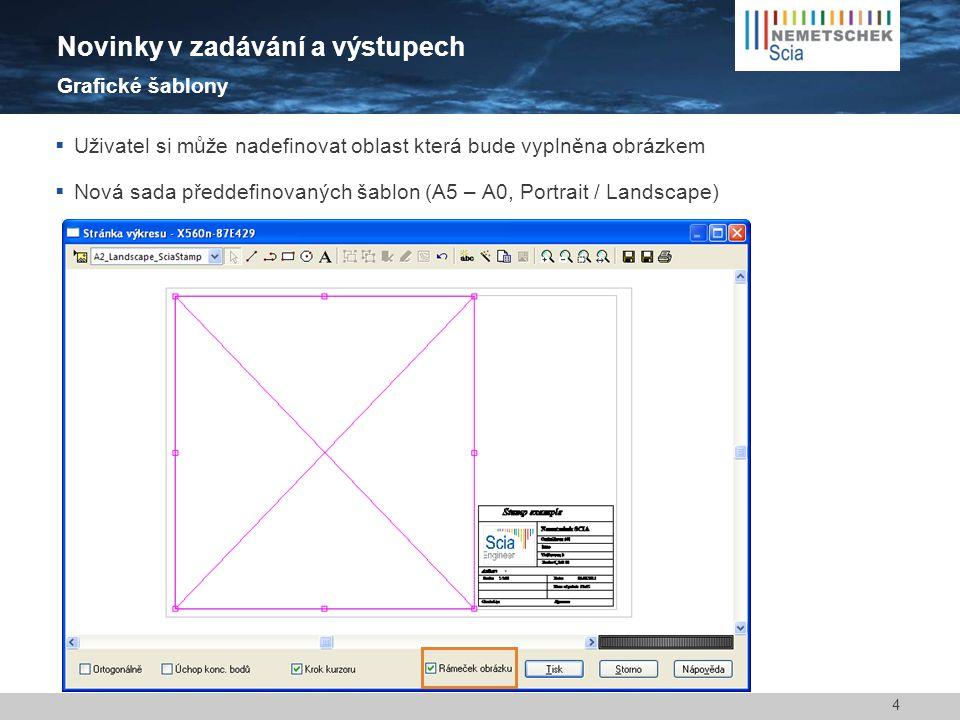 Uživatel si může nadefinovat oblast která bude vyplněna obrázkem  Nová sada předdefinovaných šablon (A5 – A0, Portrait / Landscape) 4 Novinky v zad