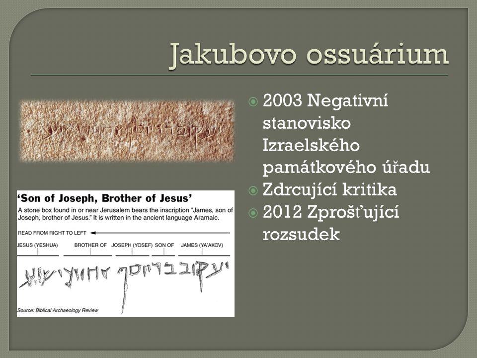 2003 Negativní stanovisko Izraelského památkového ú ř adu  Zdrcující kritika  2012 Zproš ť ující rozsudek