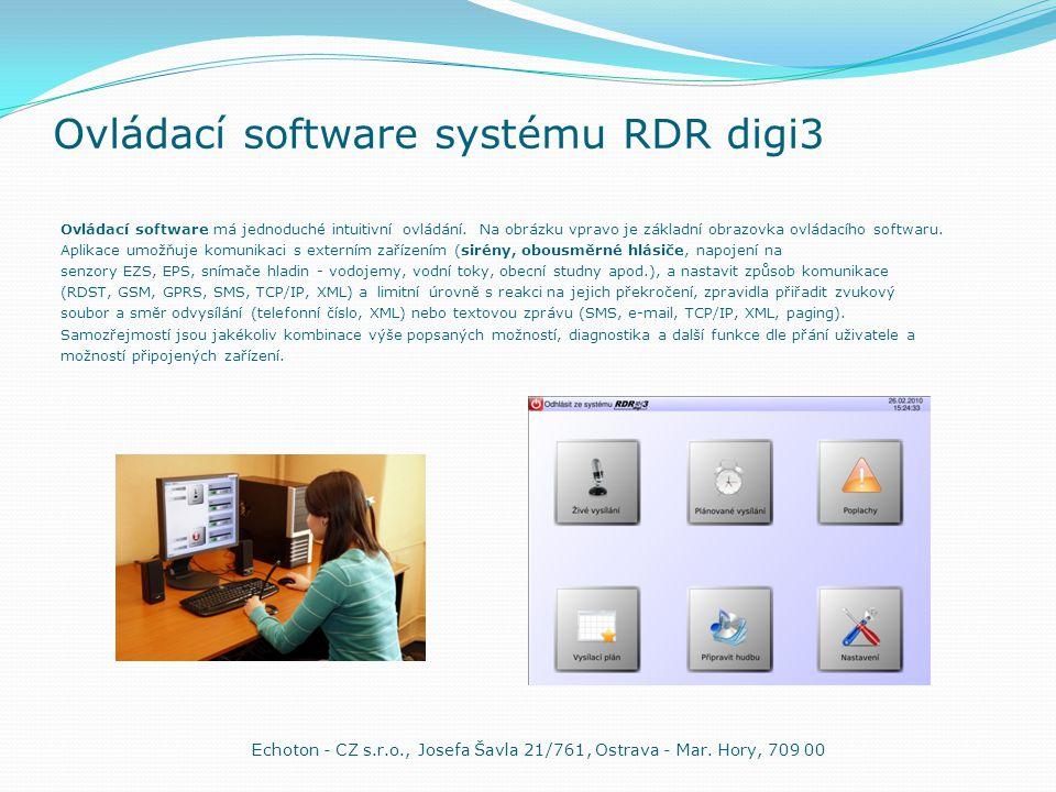 Ovládací software systému RDR digi3 Ovládací software má jednoduché intuitivní ovládání. Na obrázku vpravo je základní obrazovka ovládacího softwaru.
