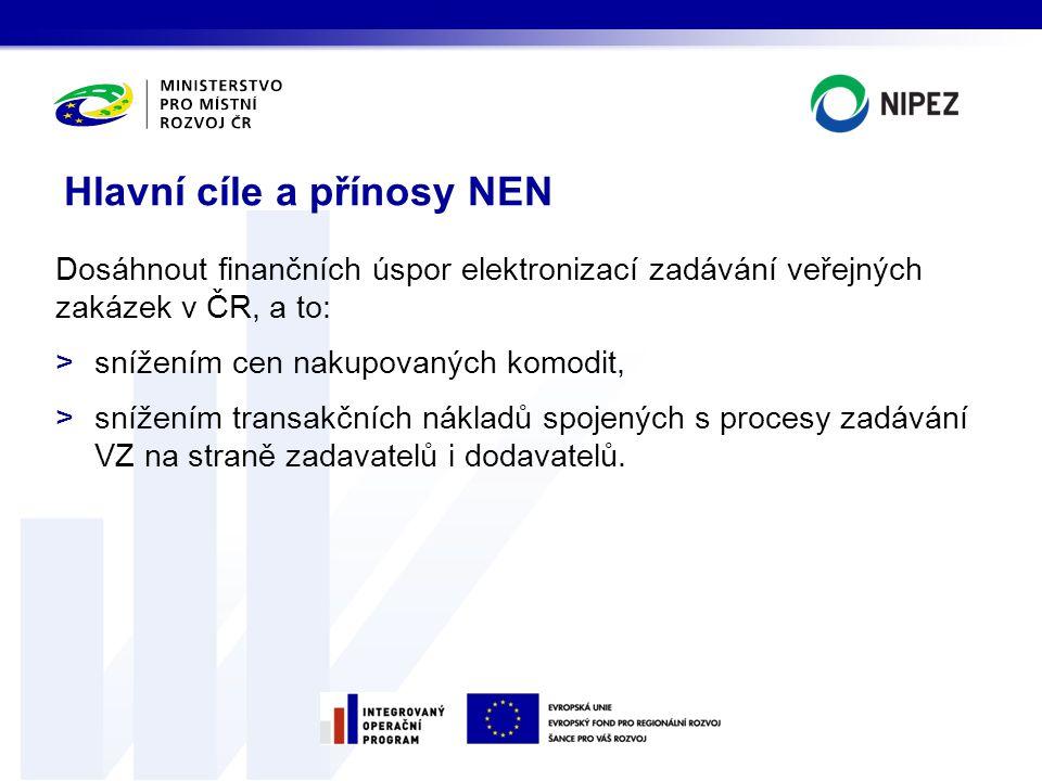 Dosáhnout finančních úspor elektronizací zadávání veřejných zakázek v ČR, a to: >snížením cen nakupovaných komodit, >snížením transakčních nákladů spo