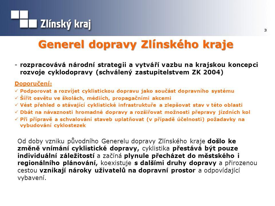 Generel dopravy Zlínského kraje 3 -rozpracovává národní strategii a vytváří vazbu na krajskou koncepci rozvoje cyklodopravy (schválený zastupitelstvem