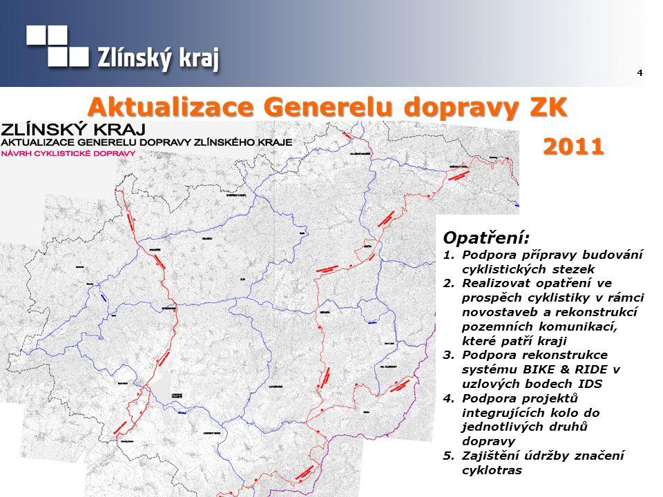 Aktualizace Generelu dopravy ZK 4 Opatření: 1.Podpora přípravy budování cyklistických stezek 2.Realizovat opatření ve prospěch cyklistiky v rámci novo