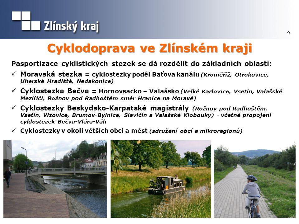 Cyklodoprava ve Zlínském kraji 9 Pasportizace cyklistických stezek se dá rozdělit do základních oblastí:  Moravská stezka = cyklostezky podél Baťova