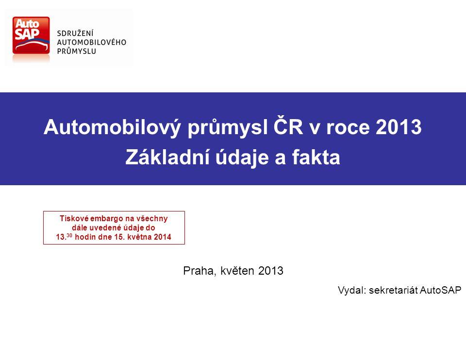 Automobilový průmysl ČR v roce 2013 Základní údaje a fakta Praha, květen 2013 Vydal: sekretariát AutoSAP Tiskové embargo na všechny dále uvedené údaje do 13.