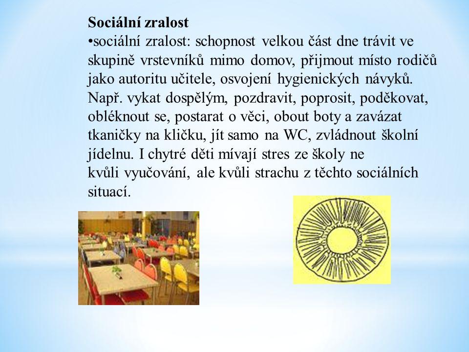 Sociální zralost •sociální zralost: schopnost velkou část dne trávit ve skupině vrstevníků mimo domov, přijmout místo rodičů jako autoritu učitele, os