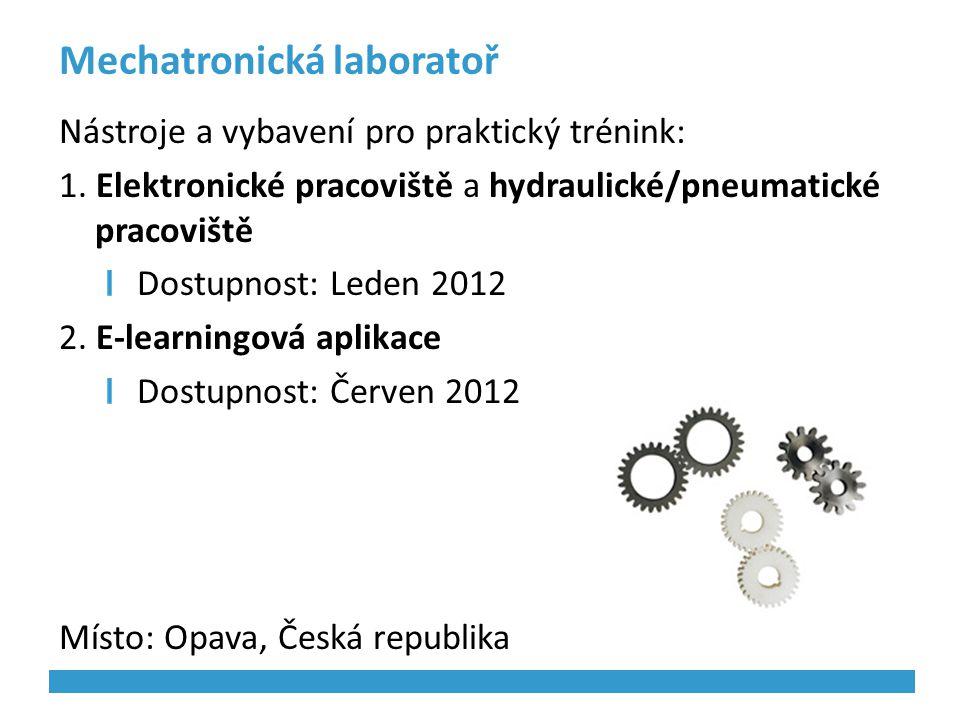 Mechatronická laboratoř Nástroje a vybavení pro praktický trénink: 1. Elektronické pracoviště a hydraulické/pneumatické pracoviště Dostupnost: Leden 2