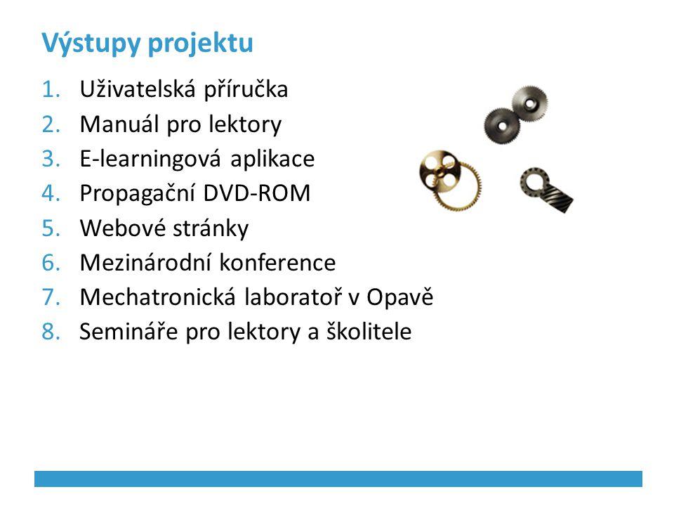 Výstupy projektu 1.Uživatelská příručka 2.Manuál pro lektory 3.E-learningová aplikace 4.Propagační DVD-ROM 5.Webové stránky 6.Mezinárodní konference 7