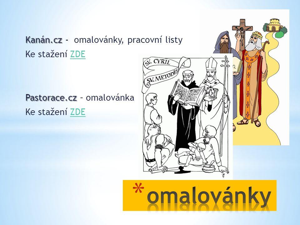 Kanán.cz Kanán.cz - omalovánky, pracovní listy Ke stažení ZDEZDE Pastorace.cz Pastorace.cz – omalovánka Ke stažení ZDEZDE