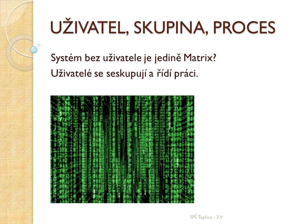 UŽIVATEL, SKUPINA, PROCES Systém bez uživatele je jedině Matrix? Uživatelé se seskupují a řídí práci. SPŠ Teplice - 3.V